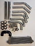Ladeluftkühler Verrohrung 76mm 63mm Universal Kit Umbau Turbo (Ladeluftkühler 550x180x65mm inkl. Verrohrung 63mm)