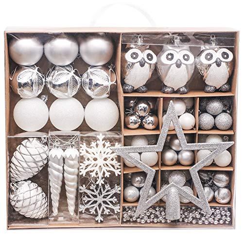 Victor's workshop palline di natale 90 pezzi set di palline di natale, decorazioni in plastica per albero di natale decorazioni natalizie celebrazioni decorazioni argento bianco