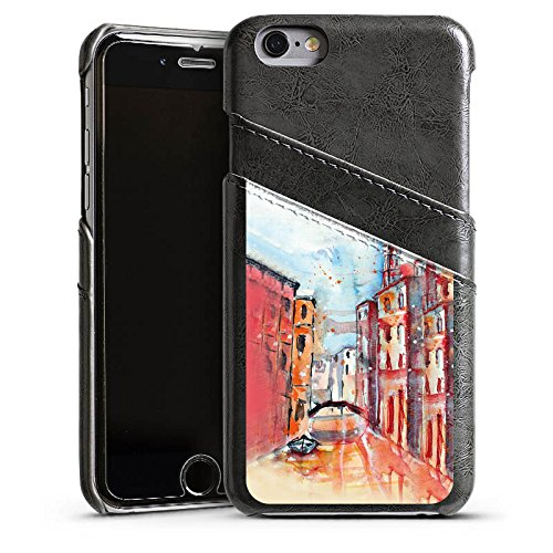 Apple iPhone 5s Housse étui coque protection Venise Venise Venise Étui en cuir gris
