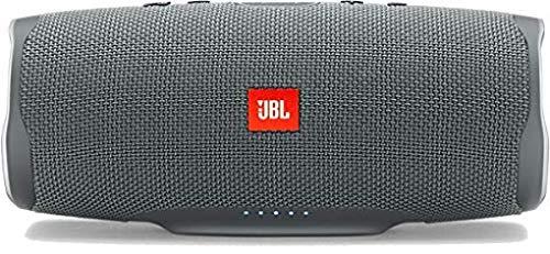 JBL Charge 4 Bluetooth-Lautsprecher in Grau - Wasserfeste, portable Boombox mit integrierter Powerbank - Mit nur einer Akku-Ladung bis zu 20 Stunden kabellos Musik streamen