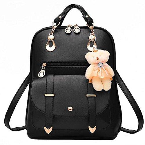 ANDAY Damen Casual PU Leder Rucksack Schultaschen Daypacks für Outdoor Sports Mit Bären Accessoire (Schwarz)
