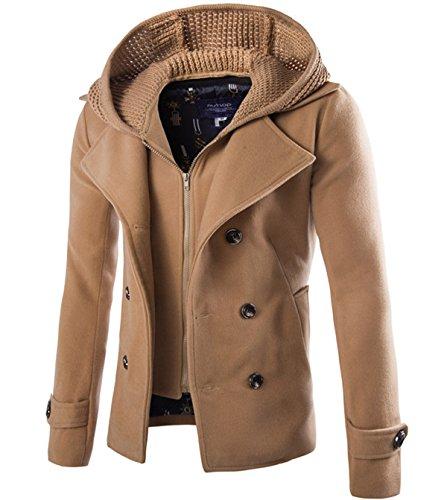 Herren warm Zweireiher Wollmantel Cabanjacke Kurzmantel Winter Jacke