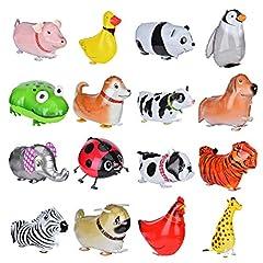 Idea Regalo - Queta 16 Pezzi Passeggio Animale Palloncini, Carino Animale Palloncino in Alluminio per Bambini, Festa di Compleanno Baby Shower Decorazione Regalo