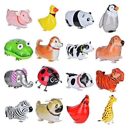 Queta 16 Stücke gehen Tierballone, Süß Tier Haustier Folienballons für Kinder, Geburtstagsparty Baby Dusche Dekoration Geschenk
