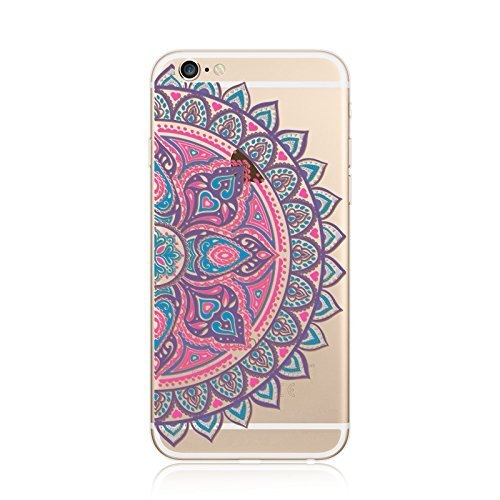 Coque iPhone 5 5s Housse étui-Case Transparent Liquid Crystal en TPU Silicone Clair,Protection Ultra Mince Premium,Coque Prime pour iPhone 5 5s-Mandala-New-style 17 22