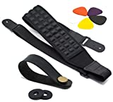 Ultimate Guitar Strap Pack: Premium Bass & Electric Guitar Strap with 2 Strap Plugs, Strap Button + 5 Guitar Picks Set. Sturdy, Adjustable & Comfortable Guitar Accessory. Top Gift Idea for Musicians