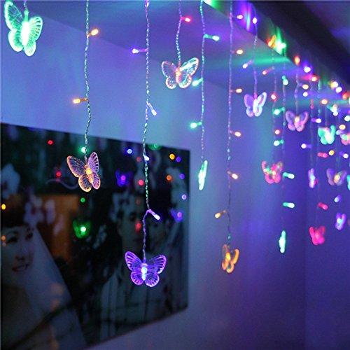 Eplze 10 Fée Papillons Autour de 48 LED 1.5M x 0.5M Lampes à Cordes 8 Modes pour le Mariage Fête Accueil Rideau Lumières de Décoration (Multicolore)