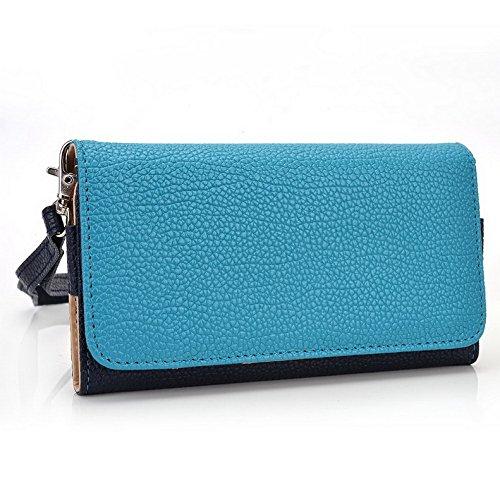 Kroo Pochette Téléphone universel Femme Portefeuille en cuir PU avec sangle poignet pour Wiko Highway 4G/Rainbow 4G Bleu - bleu Bleu - bleu