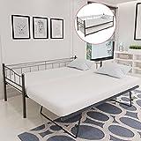 WEILANDEAL Bettgestell, 211 x 100 x 95 cm, aus Schwarzem Stahl, Modernes Design und Elegant. Schlafzimmer.