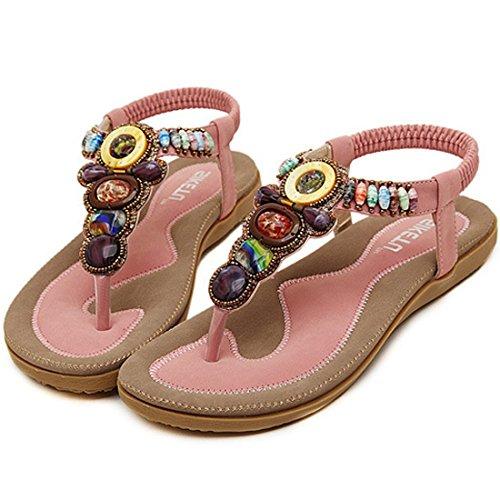 Minetom Femmes de Bohême Simple Sandales été Tongs flip plat Flops Sandales avec Bohême Perles pink
