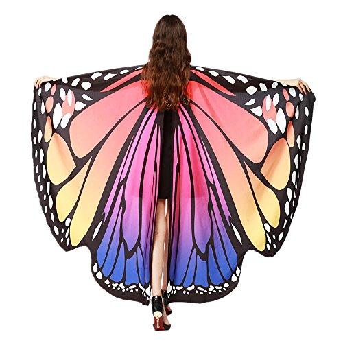 Byste donne ali delle farfalle scialle sciarpe le signore nymph pixie poncho costume accessorio (rosa caldo)