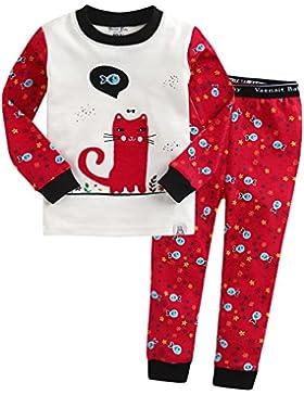 Vaenait Baby 74-122 Kinder Maedchen Bekleidung Langarm zweiteilige Schlafanzug Rose Nero