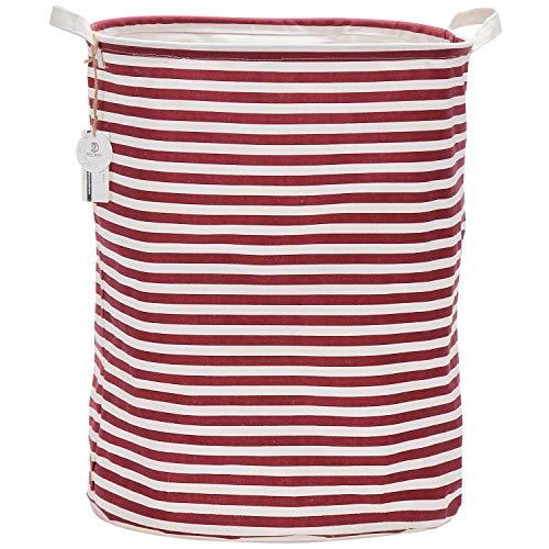 Sea Team 19.7 Inch Large Sized Waterproof Coating Ramie Cotton Fabric Folding Laundry Hamper Bucket Cylindric Burlap Canvas Storage Basket with Stylish Colorful Design (Red Stripe)
