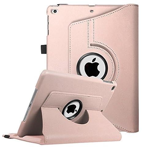 Coque New iPad 9.7 2017 / iPad Air - Fintie 360° Rotation Housse Rotatif étui Coque avec Rabat/Stand de Positionnement Support et la Fonction Sommeil/Réveil Automatique pour Apple Nouvel iPad 9.7 pouces 2017 / iPad Air 2013 Modèle, or Rose