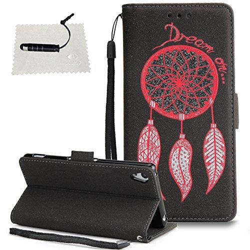 TOCASO Einhorn Windspiel Sony Xperia Z5 Hülle Etui Wallet Case Ledertasche Brieftasche Lederhülle Ultra Slim Handyhülle Schale Klapphülle Rückseite Halter Magnet - Windspiel Schwarz