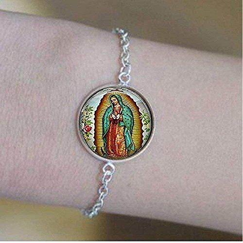 Pulseras de Nuestra Señora de Guadalupe, pulseras Virgen María, pulseras de arte católico religioso