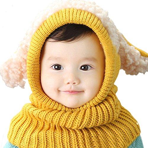 JT-Amigo Sciarpa e Berretto Cappello Invernale a maglia Bimba Bambina Giallo
