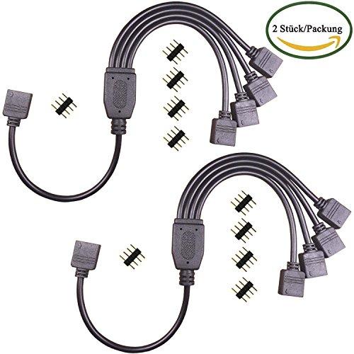 KaBenjee 5050 RGB LED Streifen Licht Verteiler Kabel,1 to 4 Y Splitter Kabel Stecker für RGB5050 RGB3528 RGB2835 Band Licht,4pin LED Streifen Licht 1 zu 4 Adapter Verbinder Kabel(2Stück/Pack)
