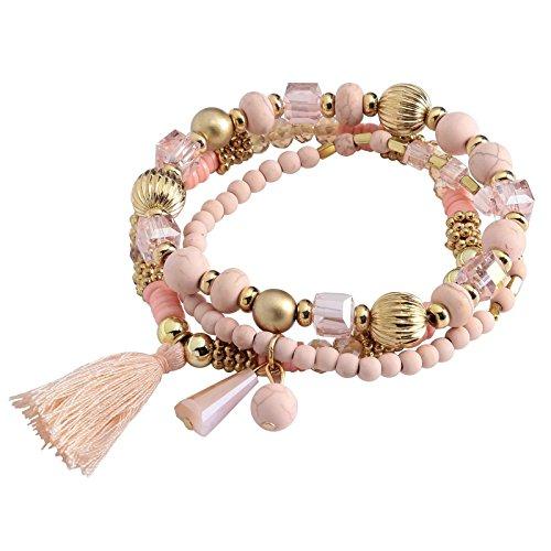 AnaZoz Schmuck 3 Stücke Charm-Armband Set Beads Armbandanhänger Dreieck Quaste Geschenk für Damen - Rose (Rose Gold Jesus Stück)