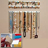 PENVEAT Adhesive Jewelry Earring Necklace Hanger Holder Organizer Packaging Display Jewelry Rack Sticky Hooks Wall Mount