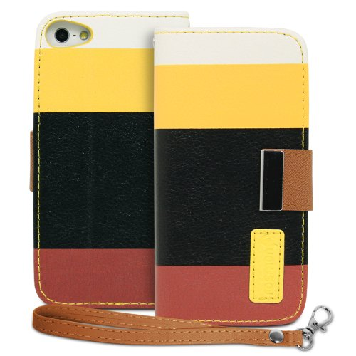iPhone Case SE, Case Wallet Folio Fosmon CADDY Series en cuir avec support Feature et Dragonne pour Apple iPhone SE (Blanc /Jaune / Noir / Brun)