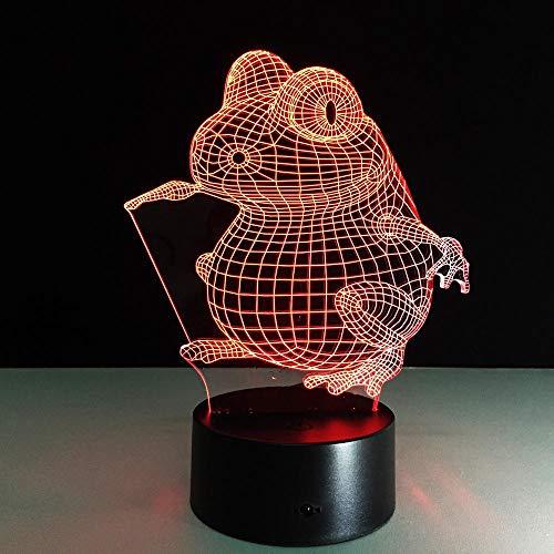 3D Illusion Lampe Froschform LED Nachtlicht, USB-Stromversorgung 7 Farben Blinken Berührungsschalter Schlafzimmer Schreibtischlampe für Kinder Weihnachts geschenk - C6 Mit Blauem Led-licht