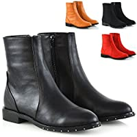 ESSEX GLAM Womens Chelsea Ankle Boots Flat Low Heel Studded Zip Casual Pixie Biker Booties Size 3-8