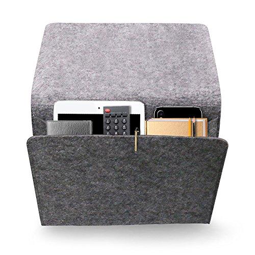 Daite 0,2 '' Dicke Filz Nachttisch-Canddy Tasche 10,9 * 8,6 * 4,3 '' für Telefon, Fernbedienung, Magzine, Glas, Stift, innen mit 2 kleinen Taschen (dunkelgrau)