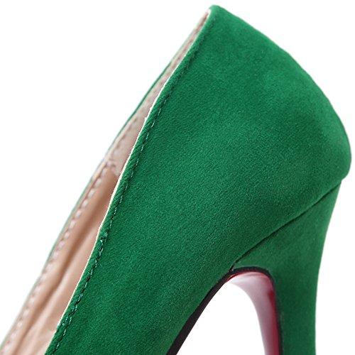 HooH Femmes Escarpins Stiletto bout pointu Sexy Flanelle Mariage Escarpins Slip On Vert