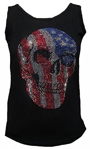 Rockabilly Punk Rock Baby–Lady Débardeur pour homme Noir Black Stretch USA Flag Skull Tête de Mort Strass Diamante Designer Tattoo partie - Noir -