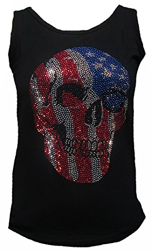 Rockabilly Punk Rock Baby Damen Lady Stretch Tank Top Shirt Schwarz Black USA Flag Skull Totenkopf Strass Diamante Designer Tattoo Teil M 38/40 -