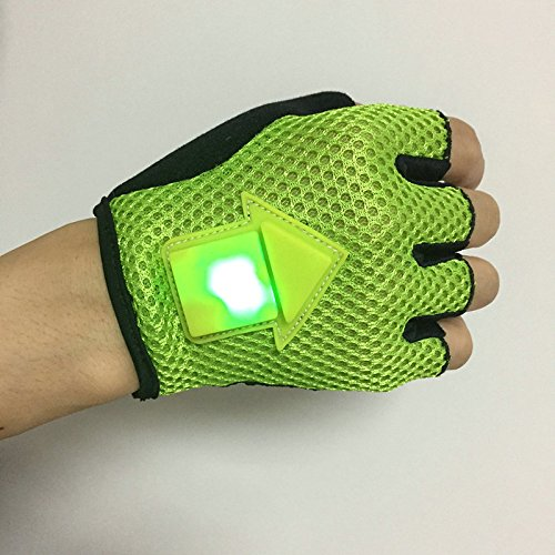 LaDicha Bikight Schwerkraft Sensor Turn Signal Handschuhe Led Licht Automatische Induktion Warnung Für Radfahren Running-L Grün