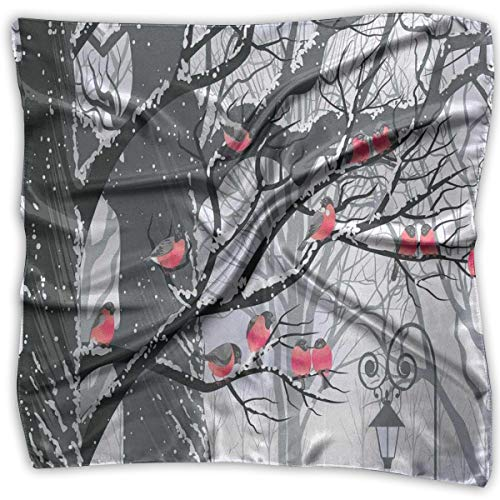 Silk Square Scarves Bandana Scarf, Cute Bullfinches On Trees Winter City Park Snow Cold Weather Immigrant Birds Design,Womens Neck Head Set ()