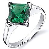 Revoni Beeindruckend 1.50 Karat Amethyst Smaragd Ring in Sterling-Silber 925 Rhodium Politur