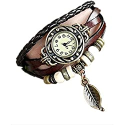HARRYSTORE Women Girl Vintage Watches, Bracelet leaf Pendant Wristwatches