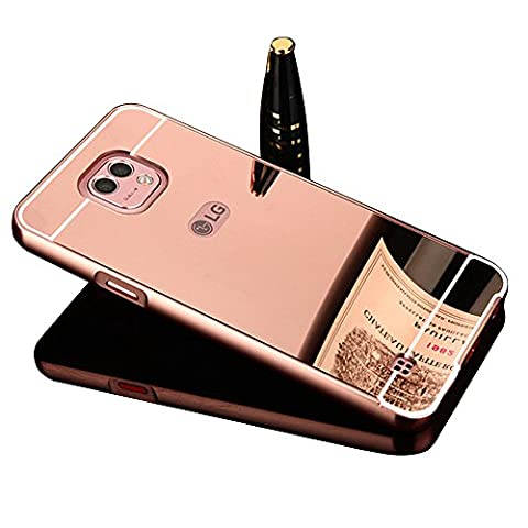 LG X Cam Case,Vandot Luxury Aluminum Metal Bumper Frame+Mirror Reflective Effect Acrylic Hard Back Shell Snap-on Practical Protective Cell Phone Case Cover for LG X Cam (Rose Gold)