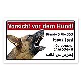 PrimeStick Vorsicht Hund Schild 5-sprachig 25x15cm Schäferhund
