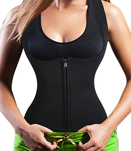 Neoprene Sauna Suit Tank Top Vest with Zipper Waist Trimmer Belt for Women