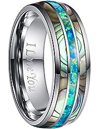 Nuncad Ring Damen/Herren 8mm Mehrfarbig mit Opal und Muschel, Unisex Wolfram Ring Comfort Fit Design für Hochzeit, Alltag und Jahrestag, Größe 54 bis 67 (14-27)