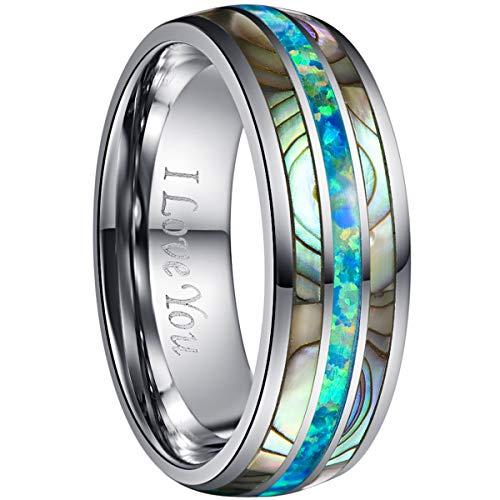 NUNCAD Hochzeit Ring aus Wolfram 8mm Silber für Damen Herren Hochzeit Verlobung Trauung Geschenk Größe 67 (27)