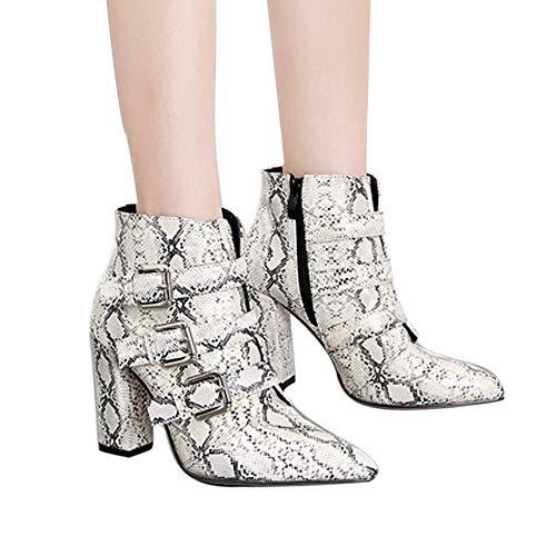 Yazidan Frau Schlangenhaut Muster Zeh-Zip-Gürtelschnalle Dick Spitz Boots Schuhe Stiefel Damen Niedrige Ferse Manschette mit flachem Kragen Armee Knöchel Winter WarmLässig Party(Weiß,UK:3.5)