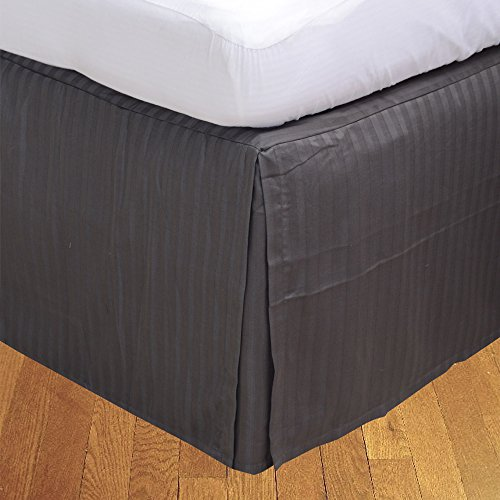 BudgetLinen Box Plissee Bed Rock ( Valance Sheet)(Elefanten Grau Steifen,UK Super König Größe 180x200 cm (6 ft x 6ft 6in ) , Drop Length 30cm) 100% ägyptischer Baumwolle Premium Qualität 600 Thread Count