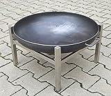 Köhko Designer-Feuerschale Ø 79 cm + 2 Griffen mit Edelstahlstandfuß in H-Form 42017-41002