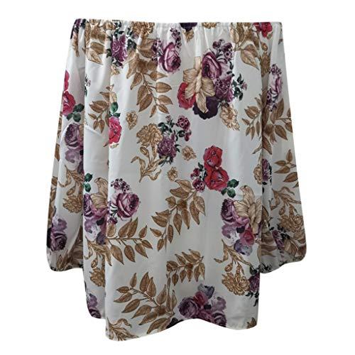Tooth Damen Langarmshirt Bluse Sommer Herbst Mode Casual Frauen Langarm Loose Plus Size rückenfrei Foral Printed T-Shirt Tops Oberseiten 2019(Weiß,XXL)