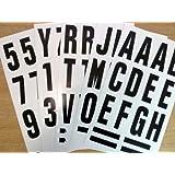 Paquet de 62 x 75 mm-Noir sur blanc-lettres et chiffres autocollants en vinyle étanche &auto-adhésive pour coller les lettres, les véhicules, embarcations, les projets scolaires &affiches