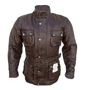Veste de moto classique Trailmaster - cuir poli aspect vintage - marron - taille 5XL