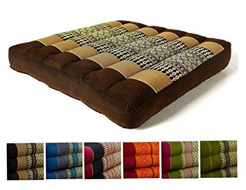 Kapok Sitzkissen 35x35x6,5cm der Marke Asia Wohnstudio, optimal als Stuhlauflage oder Meditationskissen, Bodenkissen bzw. Stuhlkissen (braun)