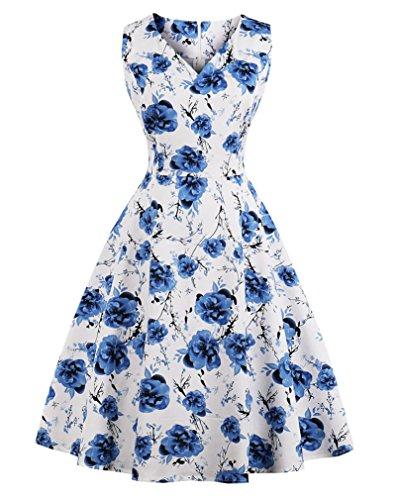 VERNASSA Vintage da Donna Anni '50, A-Line Lunghezza al Ginocchio per Abiti da Cocktail Rockabilly 1950s Retro Dress,Abito da Sposa Floreale da tè
