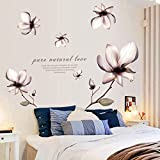 YUANLINGWEI Blume Wandaufkleber Wohnzimmer Tv Hintergrund Wand Tapeten Selbstklebenden Schlafzimmer Wall Sticker (60 * 90 Cm) 60 * 90 Cm Der Magnolia