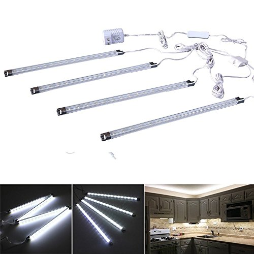 EFK LED Unter Kabinettbeleuchtung Kit, 4 er-Set Schrankleuchte , Gesamt von 5 Watt, 510lm, Alle Zubehör im Lieferumfang, Puck Lichter für Schrank / Küche-Kabinett (weiß)